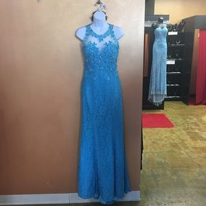 Turquoise Madison James prom gown